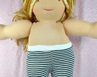 Doll leggings narrow stripes black white, 10 14 15 inch Waldorf doll clothes, fits Bamboletta, 18 inch girl dolls, bitty babies, twin dolls,