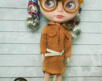 jiajiadoll - 2 pieces orange vintage belt long shirts dress fit momoko misaki blythe azone middie lati imda