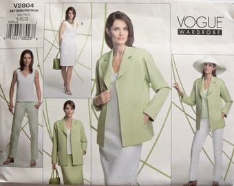 V2804 Vogue Wardrobe Sewing Pattern Misses' Jacket Notched Collar Sleeveless Top Shift Dress Straight Skirt and Pants UNCUT OOP Size 8-10-12