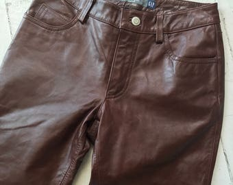 Vintage Leather Pants / Leather Trousers / Gap Pants / 90s Gap / Gap Leather Pants / Low Rise Leather Pants / Leather Pants Size 0