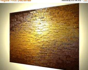 ORIGINAL Abstract Metallic Reflective PAINTING Gold Bronze Impasto Palette Knife Textured Art by Lafferty - 18x24, Free Shipping