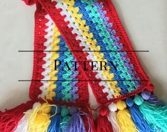 Granny Stripe Tassel Scarf Pattern, Crochet scarf, Easy scarf pattern