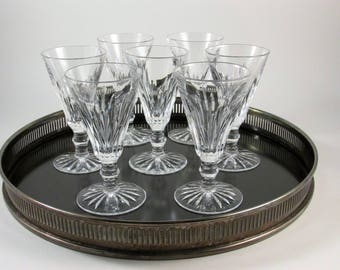 "Vintage Waterford Eileen Sherry Glasses Cordial Glasses Port Wine Glasses Set of 7 Cut Vertical Lines Flared Bowl 4 1/2"" Tall"