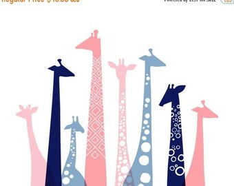 "SUMMER SALE 20X16"" giraffe silhouettes landscape giclee print on fine art paper. pink, dusty blue, navy."