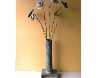 Tall Flower Vase Mens Gift Industrial Salvage Metal Vessel Unique Vase Table Centerpiece Steampunk Decor Restaurant Office Counter Display