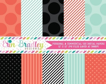 50% OFF SALE Digital Paper Pack Personal and Commercial Use Orange Blue and Black Polka Dots and Stripes