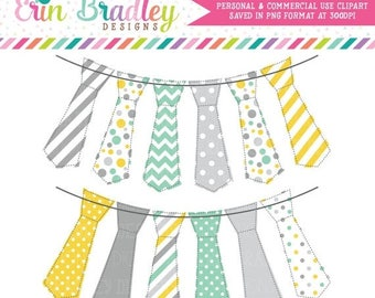 80% OFF SALE Yellow Aqua & Gray Tie Bunting Banner Flag Clipart, Digital Clip Art Graphics, Personal and Commercial Use Instant Download