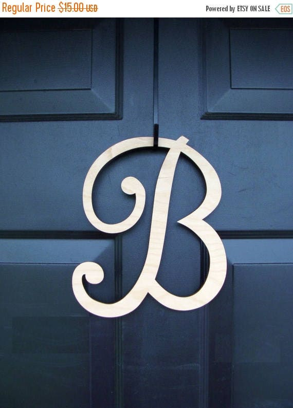SUMMER WREATH SALE Painted Wood Letter- Monogram Letter Initial- Door Wreath Accessory- In Stock 10 inch letter added to wreath order