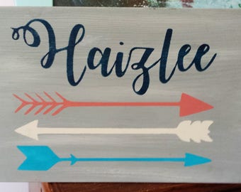 Tribal Custom Sign Baby Name Nursery Arrows turquoise coral gray Navy