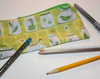 Boy Pencil Pouch, Bug Jar print, children, soft profile, Zipper bag, art pouch, travel pouch