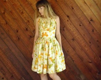15% Memorial Day Wknd ... Yellow Floral Printed Silk Tea Dress - 50s Vintage - SMALL