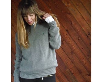 20% off SUMMER SALE. . . Grey Cotton Ralph Lauren Pullover Sweater - Vintage 90s - M