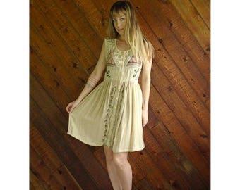 20% off SUMMER SALE. . . Gauze Embroidered Mini Mini Dress - Vintage 90s - M/L