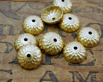 Raw Brass Bead Cap Acorn Cap Ornate Gold Bead Cap Brass Cap (6) Made in the USA