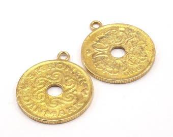 Denmark Coin Pendant,2 Raw Brass Coins, Coin Pendants (27x2mm) N191