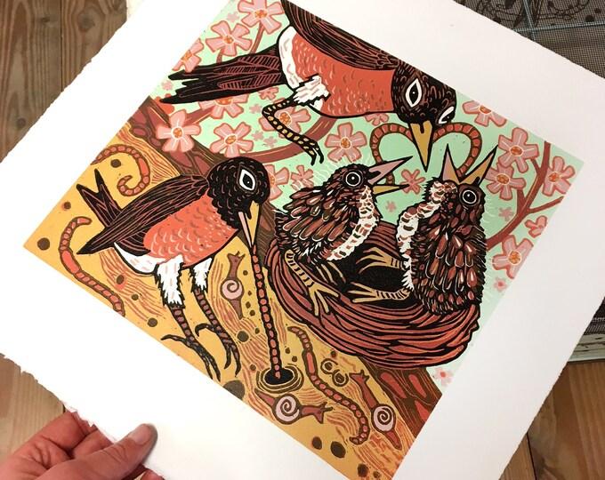 Robins, robin redbreast, cherry blossom, woodcut print, block print, original art by Jenny Pope