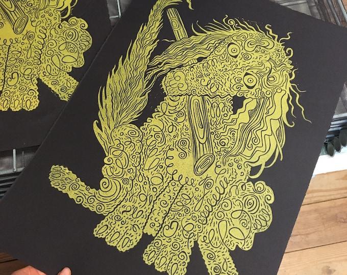 Poodle, gold ink, Dog art, woodcut print, block print, original art by Jenny Pope