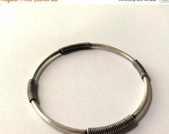 sterling silver bangle- silver bracelet- wire wrapped bangle-stacking bracelet- tribal bracelet-medium sized bangle bracelet, ready to ship