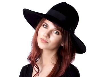 Wide Brimmed Hat Black Fedora Hat Fall Fashion Fall Accessories Wide Brimmed Fedora Fall Hat Women's Hat Winter Accessories Women's Fedora