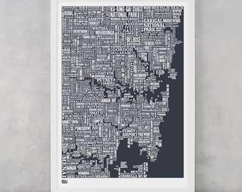 Sydney Type Map Screen Print, Sydney Wall Art, Sydney Word Map, Sydney Wall Poster, Sydney Art Print, Sydney Artwork, Sydney Text Map