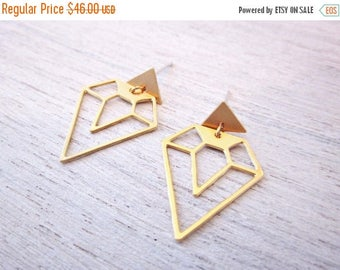 On Sale 40% off, Diamond and Triangle Earrings, Geometric Earings, signature Earings, Architectural Jewelry