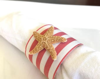 Sugar Starfish Napkin Ring with Coral Stripe Ribbon - Beach Wedding - seashore - shells