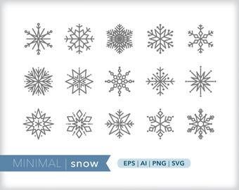 Minimal snow line icons | EPS AI PNG | Geometric Seasonal Clipart Design Elements Digital Download