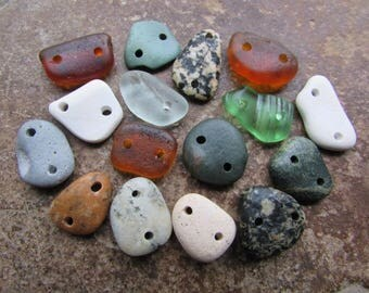 SMALL Natural Stone Bead CONNECTORS Beach Stone LINKS Beach Glass Connectors 2mm