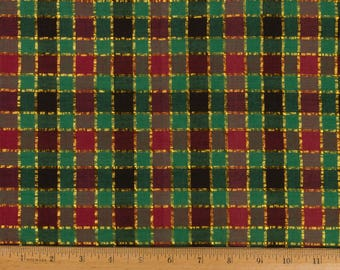 Red Christmas Fabric cotton plaid with gold threads Red and green Sold as one piece 1 yard