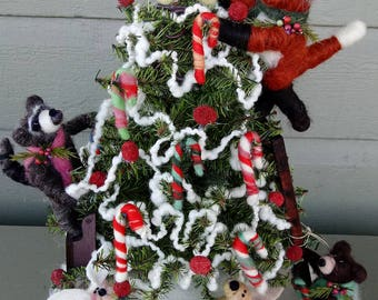 Friendly Forest Christmas Felted Figures Lighted Scene - NEW for 2018