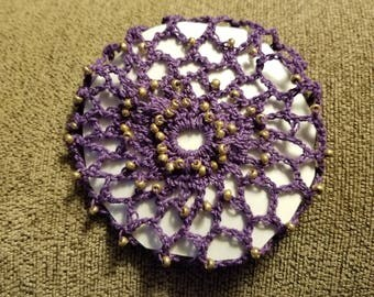 Purple with gold bun cover.  SCA.  Wedding.  Prom.   Civil war.  Ready to ship