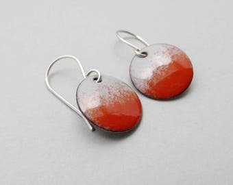 Red Earrings - Small Red Dangle Earrings - Red and Gray Enamel Earrings