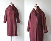 Estate Tweed coat | vintage 1940s wool coat | wine tweed 40s coat