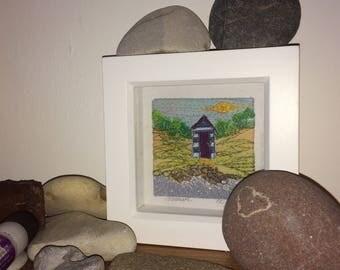 Solitaire - a mini fibre art beach hut scene