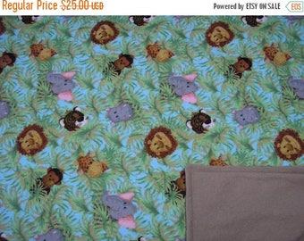 SALE Cozy Baby Blanket Flannel Wild Jungle Animals