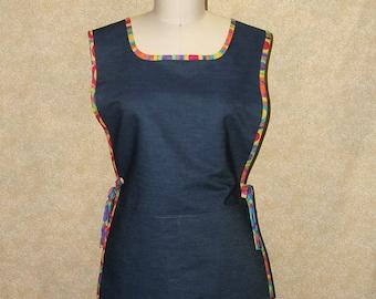 Tunic cobbler apron denim rainbow trim two pockets cell pocket side tie cotton briht colors womens size large