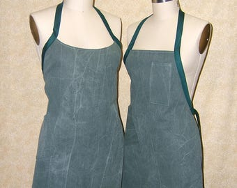 Canvas Apron olive green supple cotton canvas one piece neck strap chef style standard or wrap around 2 pockets pencil pocket cell pocket