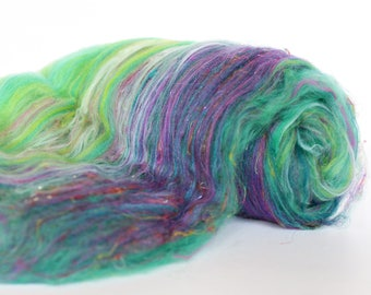 Lotus 3.2 oz  Wool - Merino // Art Batt // Wool Art Batt for spinning or needle felting