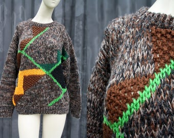 80's Vintage Lake Life Brand Unisex Brown Green and Bright Orange Abstract Funky Print Men's or Women's Retro Knit Oversize Sweater