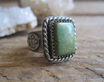 Mens Turquoise Ring, Statement Ring, Gift for Him, Pinky Ring, Sterling Silver Ring, Southwestern Ring, Navajo Ring