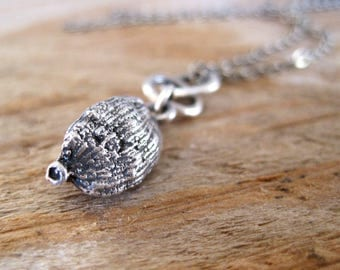 Sterling Silver, Seed Pod Necklace, Flower Bud Pendant, Pod Pendant, Organic Necklace, Botanical Necklace