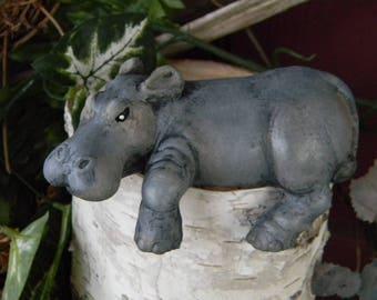Ceramic  Baby hippo Fiona hippopotamus   Vintage Design  shelf or window sill design