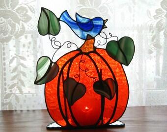 Bluebird on a Pumpkin Tealight Holder Stained Glass Candle Holder Glass Pumpkin Candleholder Fall Stained Glass Decoration Halloween Decor