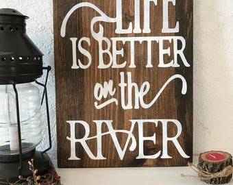 """Life is better on the River pallet style sign 13""""w x 17 1/2"""" tall hand-painted.wood sign,sign,art,rustic,river, cabin decor,for the home"""