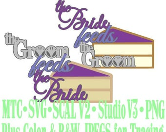 Wedding Cake Bride Groom Feeds Cut Files MTC SVG SCAL Format and more traceable