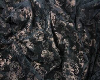 Black Floral Flocked Velvet Fabric