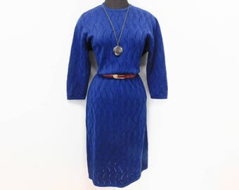 Vintage 60s Navy Blue Sweater Dress Pointelle Knit Embossed Zig Zag Wave Midi Mod Secretary Office Half Sleeve Full Skirt L XL Large