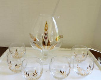 Vintage Mid-Century High Ball Glasses and Decanter Drink Set Gold Accents