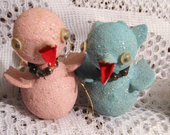 Six Vintage Hand Painted Glitter Bird Ornaments - Blue, Pink, White