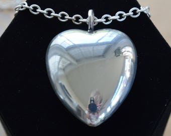 "Large Puffed Heart Necklace, Silver tone, Vintage, 28"", ""Denmark""  (V15)"